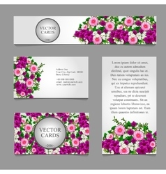 Cards with white and pink flower vector