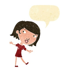 Cartoon happy girl gesturing to follow with speech vector