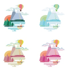 Set of flat colorful landscape mountains balloon vector