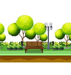 Park with tree and seating area vector