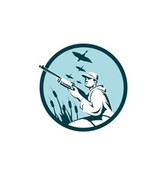 Duck hunter rifle circle retro vector