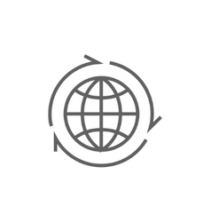 Globe with arrows line icon vector