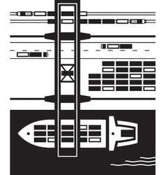 Cargo terminal from above vector image