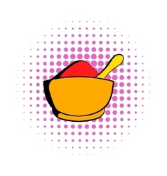 Spice in ceramic bowl icon comics style vector