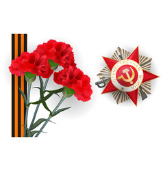 9 may carnation red flower victory day medal vector