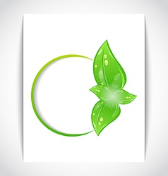Round frame leaf elements vector