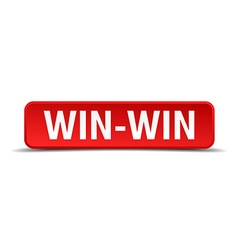 Win-win red 3d square button isolated on white vector