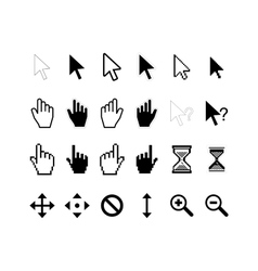 Large set of computer arrow cursors on white vector image