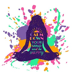 Yoga lotus pose woman silhouette over colorful vector