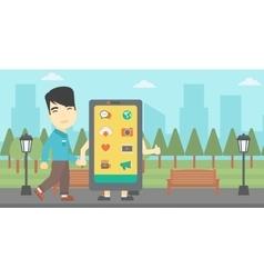 Man walking with big smartphone vector