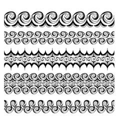 Abstract seamless ballpoint waves borders set vector