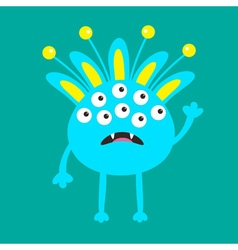Blue monster with ears fang tooth and horns Funny vector image