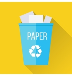 Blue recycle garbage bin with paper vector