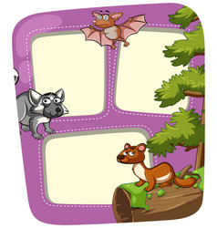 Border template with wild animals in forest vector