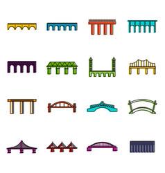 bridge set icons doodle set vector image