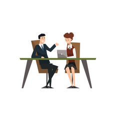 Business people smiling and talking at the laptop vector