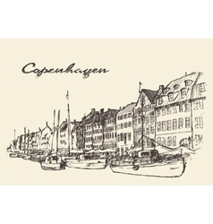Copenhagen Denmark hand drawn vector image vector image