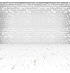 Empty white room with wooden floor and brick wall vector