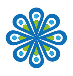 Flat blue flower icon vector