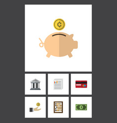 Flat icon incoming set of greenback counter vector