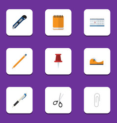 Flat icon tool set of fastener page drawing tool vector