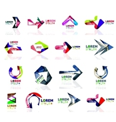 Geometric shapes arrow company logo set paper vector image