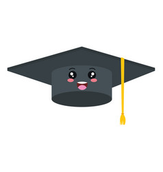 hat graduation kawaii character vector image