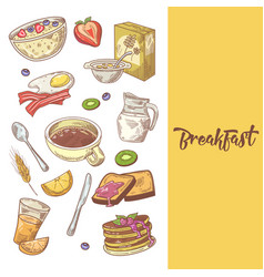 Healthy breakfast hand drawn design with pancakes vector