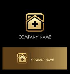 hospital medic gold logo vector image