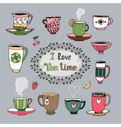 I love tea time vector