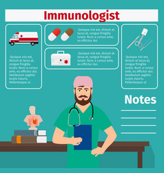 Immunologist and medical equipment icons vector