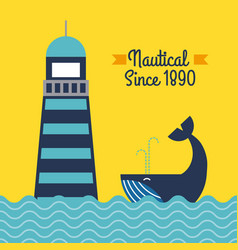 nautical lighthouse sea whale poster vector image