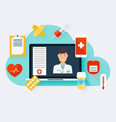 Online medical consultation concept modern vector image vector image