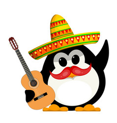 Penguin with a guitar and a sombrero cartoon vector