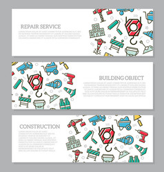 set of three digital construction horizontal vector image