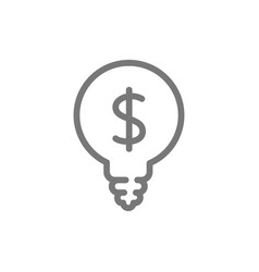 Simple light bulb with dollar line icon symbol vector