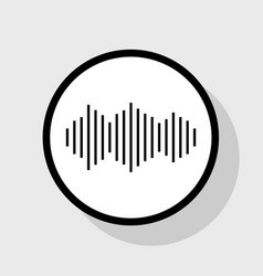 Sound waves icon flat black icon in white vector