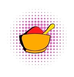 Spice in ceramic bowl icon comics style vector