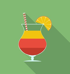Summer cocktail icon Modern Flat style with a long vector image vector image