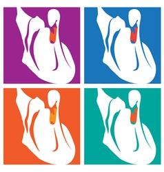 swans pop art vector image vector image