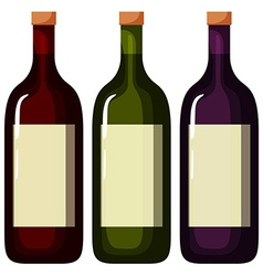 Three bottles of wine with white label vector