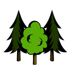 Three tree icon cartoon vector