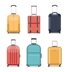 Travel luggage or suitcase icons vector image vector image