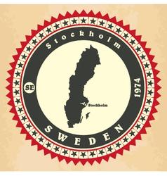 Vintage label-sticker cards of sweden vector
