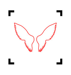 Wings sign red icon inside vector