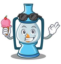 With ice cream lantern character cartoon style vector