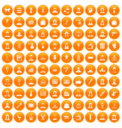 100 hairdresser icons set orange vector