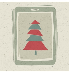 xmas tree tablet vector image