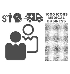 Clients icon with 1000 medical business pictograms vector