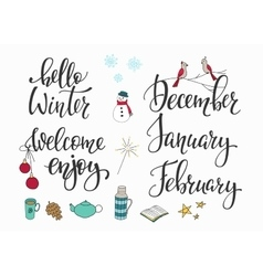 Hello winter december january february set vector